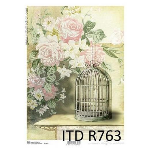 Ριζόχαρτο ITD, 21x29cm, Τριαντάφυλλα και κλουβί, R763
