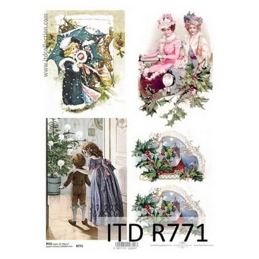 Ριζόχαρτο ITD Χριστουγεννιάτικο, Χιονισμένες παρέες 21x29cm, R771