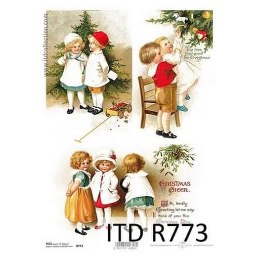Ριζόχαρτο ITD Χριστουγεννιάτικο με παιδάκια, 21x29cm, R773