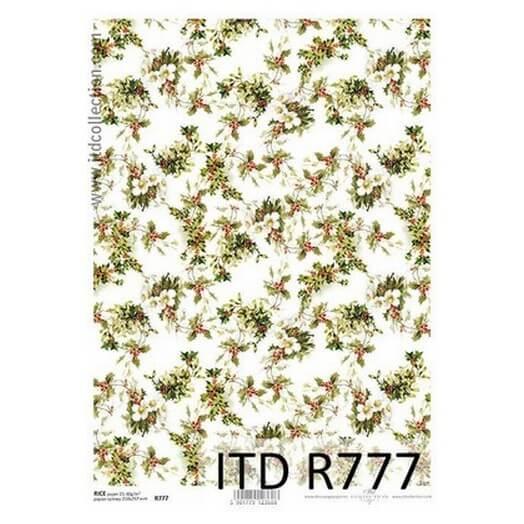 Ριζόχαρτο ITD Χριστουγεννιάτικο R777, Μικρά γκι 21x29cm