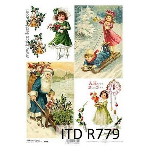 Ριζόχαρτο ITD Χριστουγεννιάτικο, Παιδάκια και Άγιος Βασίλης, 21x29cm