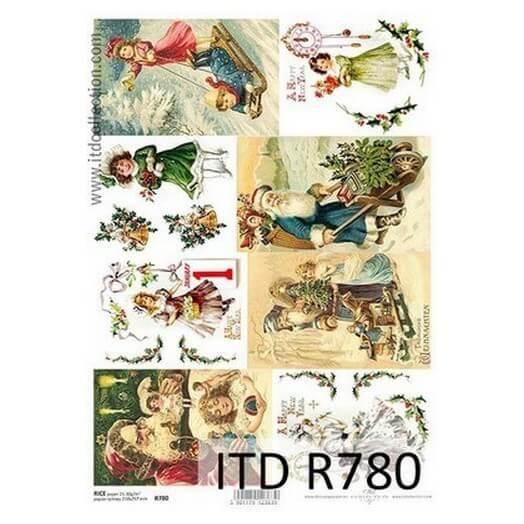 Ριζόχαρτο ITD Χριστουγεννιάτικες εικόνες R780, 21x29cm
