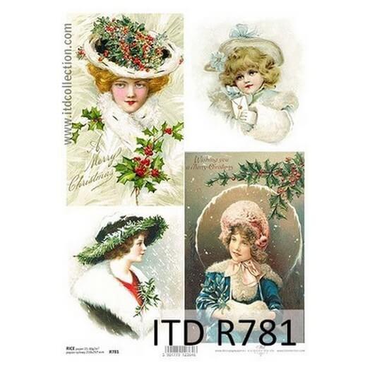 Ριζόχαρτο ITD Χριστουγεννιάτικο R781, Κορίτσια του χιονιού, 21x29cm