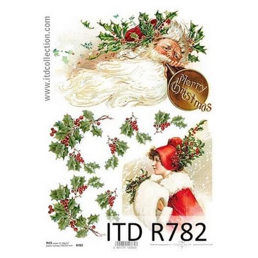 Ριζόχαρτο ITD Χριστουγεννιάτικο R782, Γκι και Άγιος Βασίλης, 21x29cm
