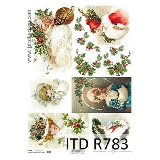 Ριζόχαρτο ITD Χριστουγεννιάτικο R783, Άγιος Βασίλης και Γκι, 21x29cm