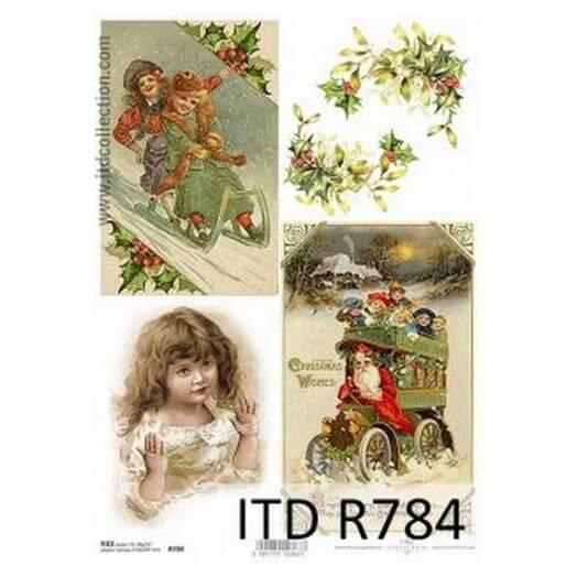 Ριζόχαρτο ITD Χριστουγεννιάτικο R784, Έλκηθρα και γκι 21x29cm