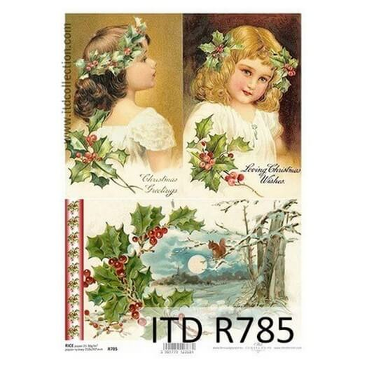 Ριζόχαρτο ITD R785, Κορίτσια με χριστουγεννιάτικα στεφάνια, 21x29cm