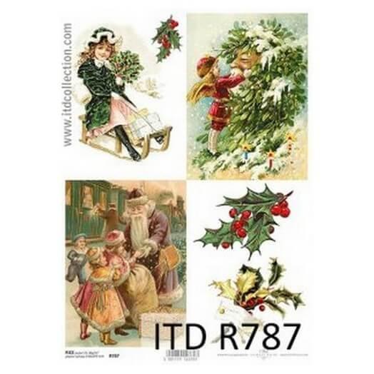 Ριζόχαρτο ITD Χριστουγεννιάτικο, Έλκηθρα και γκι, 21x29cm, R787