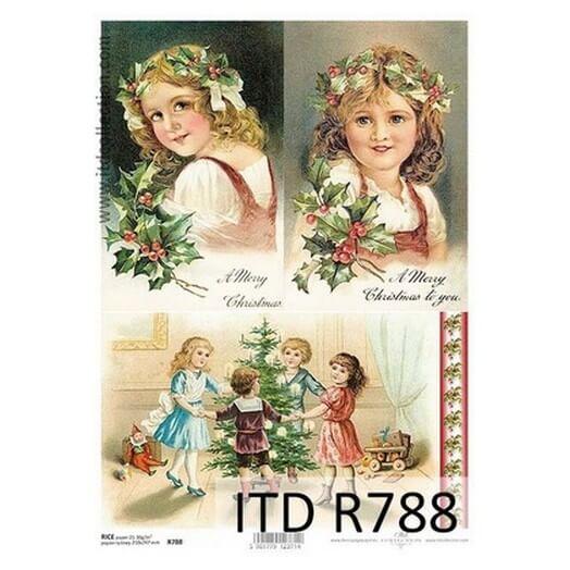 Ριζόχαρτο ITD Χριστουγεννιάτικο, Κοριτσάκια με στεφάνια 21x29cm R788