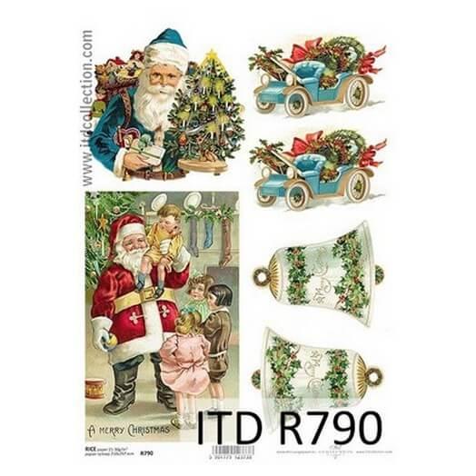 Ριζόχαρτο ITD Χριστουγεννιάτικο, Καμπάνες και Άγιος Βασίλης, 21x29cm, R790