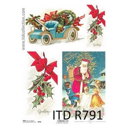 Ριζόχαρτο ITD Χριστουγεννιάτικο, Γκι και Άγιος Βασίλης, 21x29cm