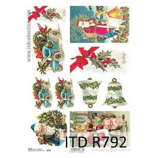 Ριζόχαρτο ITD Χριστουγεννιάτικο, Καμπάνες και Άγιος Βασίλης, 21x29cm
