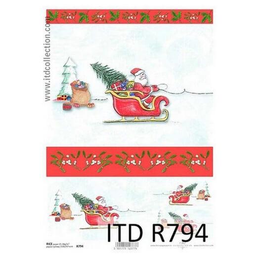 Ριζόχαρτο ITD Χριστουγεννιάτικο, Άγιος Βασίλης σε έλκηθρο, 21x29cm