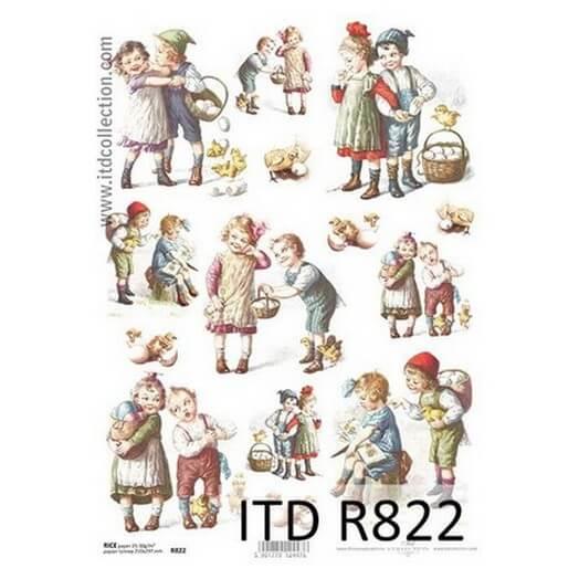 Ριζόχαρτο Πασχαλινό ITD R822, Παιχνιδιάρικα παιδιά, 21x29cm
