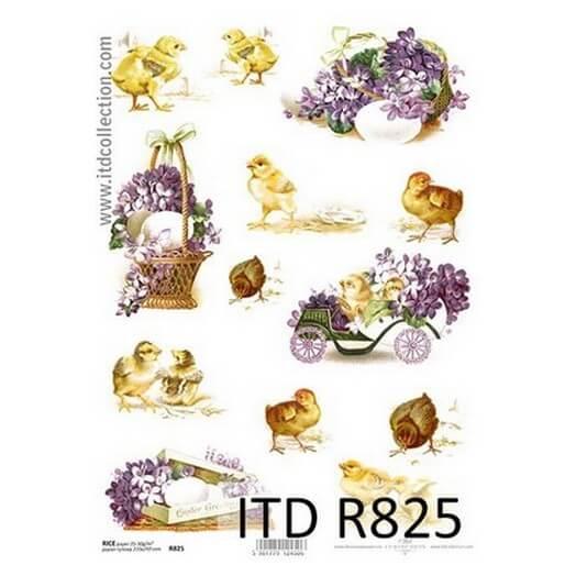 Ριζόχαρτο Πασχαλινό ITD, 21x29cm, Κοτοπουλάκια και πασχαλιές, R825