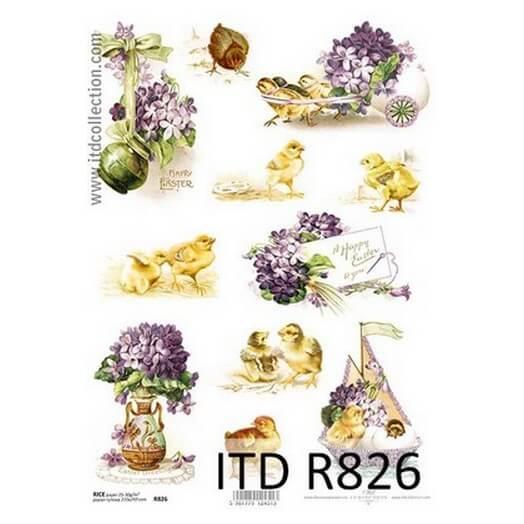 Ριζόχαρτο Πασχαλινό ITD, 21x29cm, Πασχαλιές και κοτοπουλάκια, R826