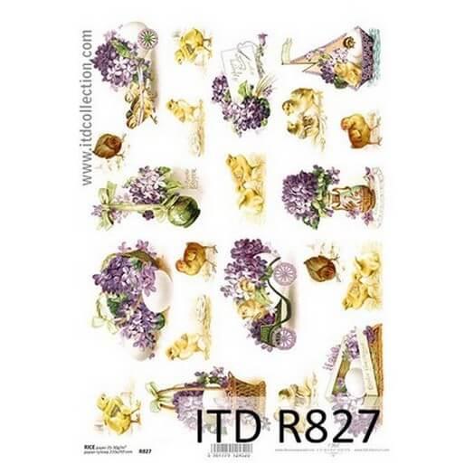 Ριζόχαρτο Πασχαλινό ITD, 21x29cm, Πασχαλιές και κοτοπουλάκια, R827