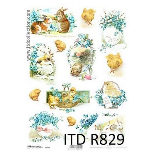 Ριζόχαρτο Πασχαλινό ITD, 21x29cm, Κοτοπουλάκια και λαγοί, R829