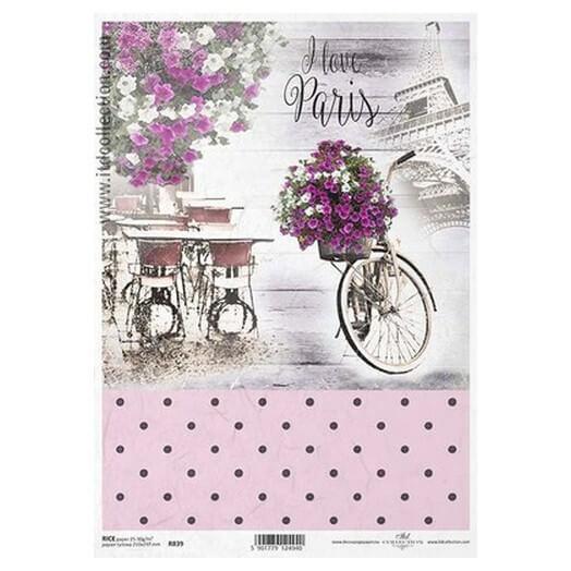 Ριζόχαρτο ITD, 21x29cm, Ποδήλατο με λουλούδια, R839