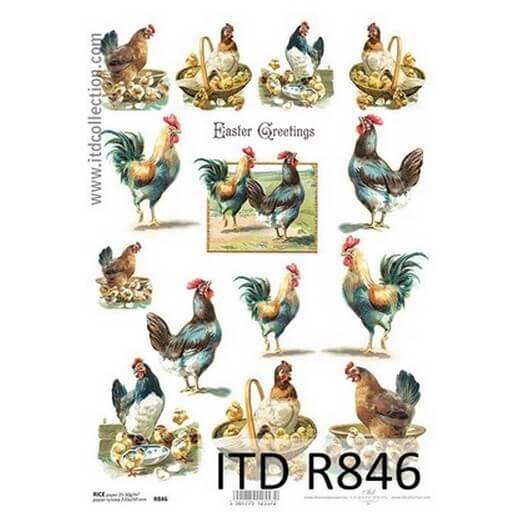 Ριζόχαρτο Πασχαλινό ITD, 21x29cm, Κόκορες και κότες R846
