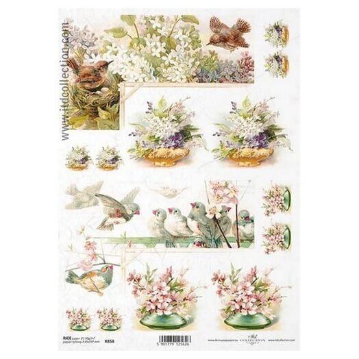 Ριζόχαρτο ITD, 21x29cm, Πουλάκια και λουλούδια, R858