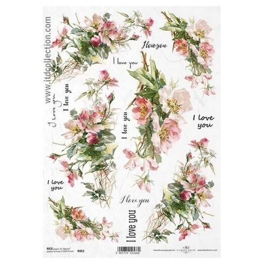 Ριζόχαρτο ITD, 21x29cm, Λουλούδια, R862