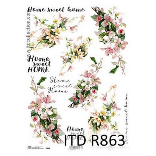 Ριζόχαρτο ITD, 21x29cm, Λουλούδια και φράσεις, R863