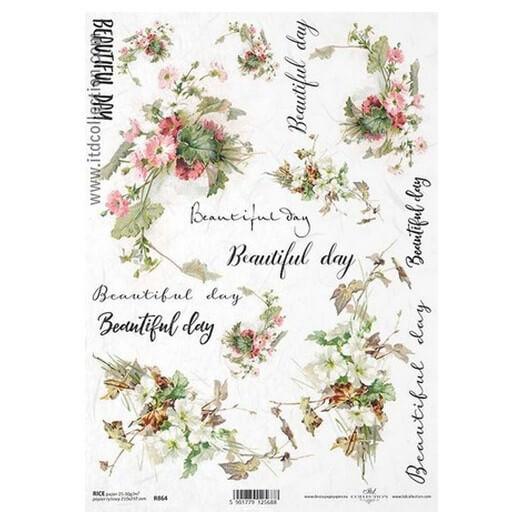 Ριζόχαρτο ITD, 21x29cm, Φράσεις και λουλούδια, R864