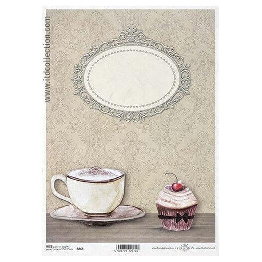 Ριζόχαρτο ITD, 21x29cm, Φλιτζάνι και cupcake, R868