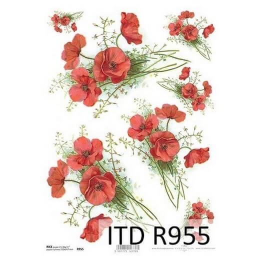 Ριζόχαρτο ITD, 21x29cm, Κόκκινες παπαρούνες R955