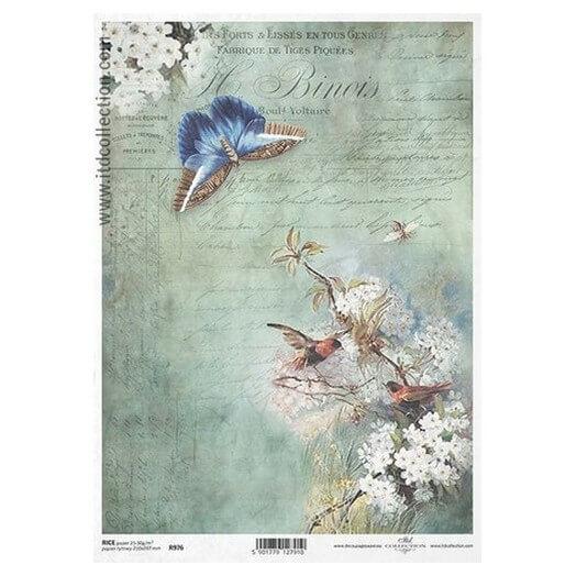 Ριζόχαρτο ITD, 21x29cm, Πεταλούδα και λουλούδια R976