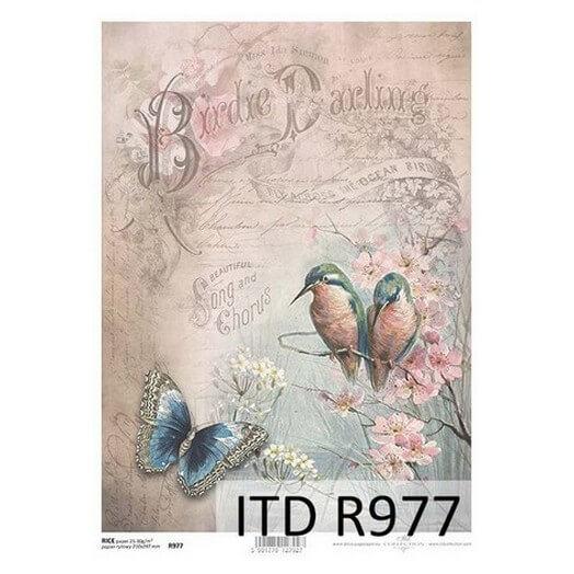 Ριζόχαρτο ITD, 21x29cm, Πουλάκια και πεταλούδα, R977