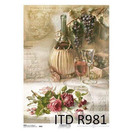 Ριζόχαρτο ITD, 21x29cm, Μπουκάλι κρασιού και σταφύλια, R981