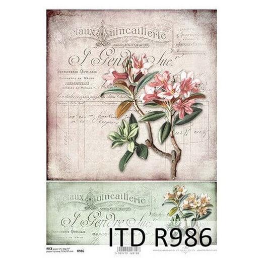 Ριζόχαρτο ITD, 21x29cm, Κλαδί λουλουδιού, R986