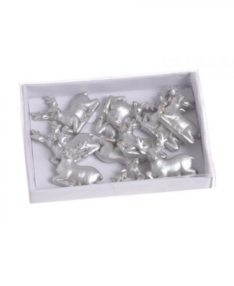 Τάρανδοι silver με αυτοκόλλητο, 8 τεμ., 2,5x3cm