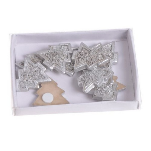 Δεντράκια silver με αυτοκόλλητο, 10 τεμ., 3x3cm
