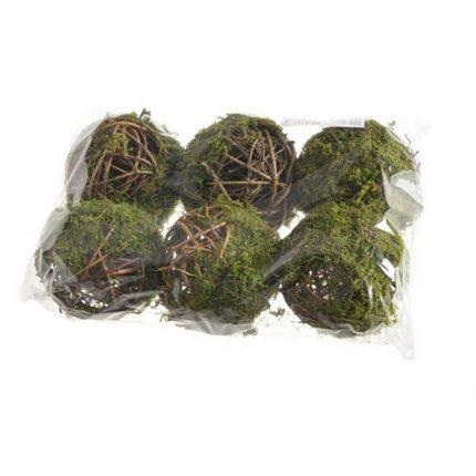 Μπάλες με κλαδιά και moss, 6τεμ.