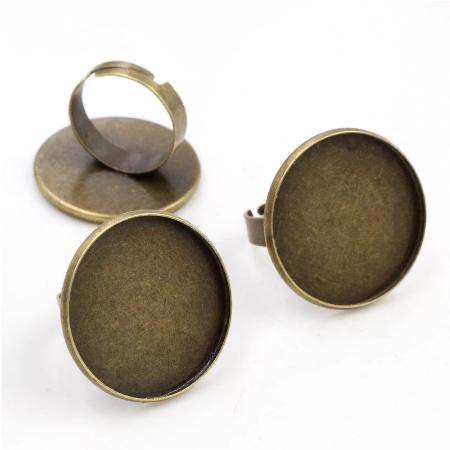 Δαχτυλίδι μεταλλικό Antique Bronze Round 25mm, 1 τεμ.