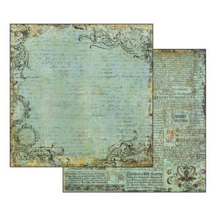 Χαρτί scrapbooking διπλής όψης Alchemy Manuscript Turquoise Background 31,2x30,3cm, Stamperia