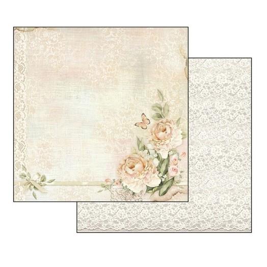 Χαρτί Scrapbooking διπλής όψης 30,5x30,5cm Stamperia, Peony and Laces