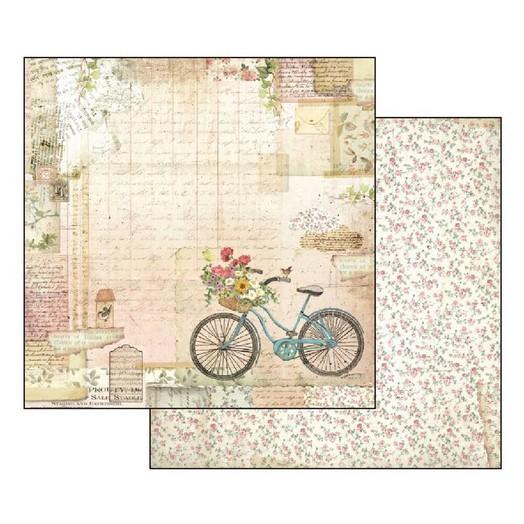 Χαρτί Scrapbooking διπλής όψης 30,5x30,5cm Stamperia, Garden bicycle
