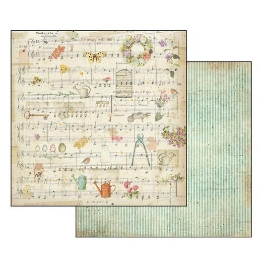 Χαρτί Scrapbooking διπλής όψης 30,5x30,5cm Stamperia, Score and Watering Can