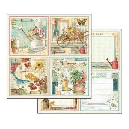 Χαρτί Scrapbooking διπλής όψης 30,5x30,5cm Stamperia, Garden cards