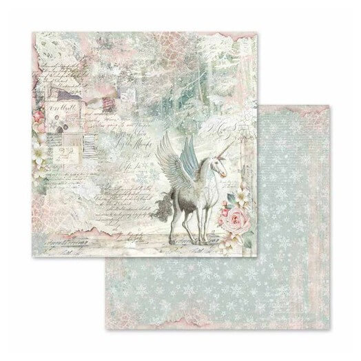 Χαρτί scrapbooking διπλής όψης 30x30cm Stamperia,  Unicorn Fantasy