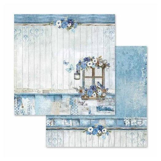 Χαρτί scrapbooking διπλής όψης 30x30cm Stamperia,  Blue Land window