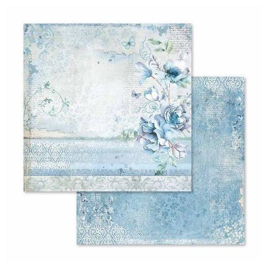 Χαρτί scrapbooking διπλής όψης 30x30cm Stamperia,  Blue Land flower