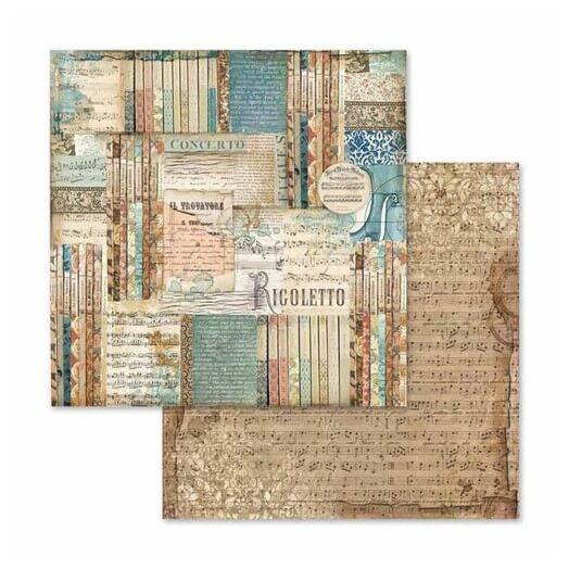 Χαρτί scrapbooking διπλής όψης 30x30cm Stamperia,  Music Rigoletto