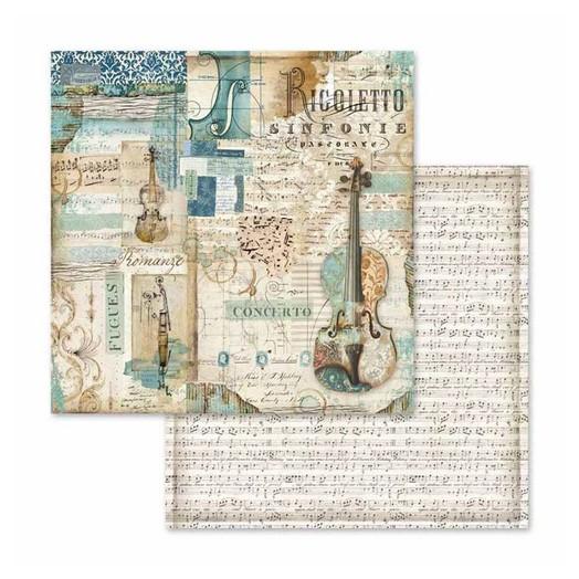 Χαρτί scrapbooking διπλής όψης 30x30cm Stamperia,  Music Rigoletto violin