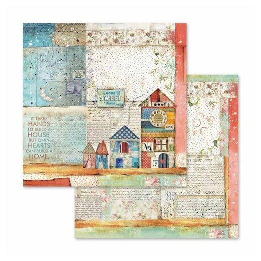 Χαρτί scrapbooking διπλής όψης 30x30cm Stamperia,  Patchwork little houses