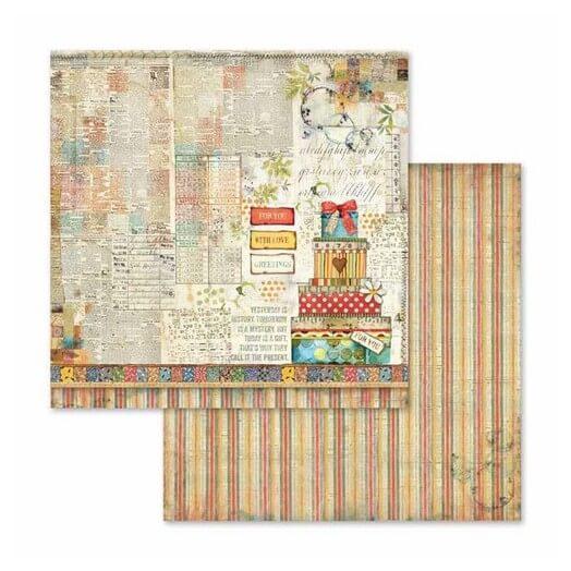 Χαρτί scrapbooking διπλής όψης 30x30cm Stamperia,  Patchwork gift
